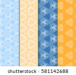 set of seamless line art floral ... | Shutterstock .eps vector #581142688