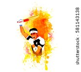 aggressive cricket batsman... | Shutterstock .eps vector #581143138