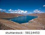 blue lake with surrounding... | Shutterstock . vector #58114453