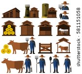 farmer man and milch cow.vector | Shutterstock .eps vector #581151058