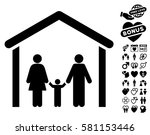 family cabin icon with bonus... | Shutterstock .eps vector #581153446