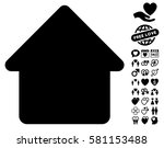 cabin pictograph with bonus... | Shutterstock .eps vector #581153488