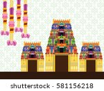 hindu temple on pattern... | Shutterstock .eps vector #581156218