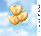 heart gold balloon on background | Shutterstock .eps vector #581160436