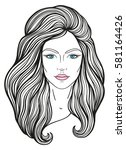beautiful girl face with long... | Shutterstock .eps vector #581164426