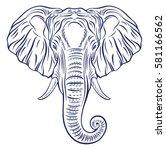 elephant portrait isolated on... | Shutterstock .eps vector #581166562