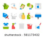 vector flat cleaning set icons. ... | Shutterstock .eps vector #581173432