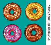 decorative hand drawn donuts... | Shutterstock .eps vector #581176582