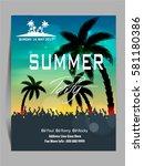 summer beach party flyer  ... | Shutterstock .eps vector #581180386