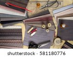 sewing process with spools ... | Shutterstock . vector #581180776