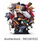 big heap of different clothes... | Shutterstock . vector #581181922