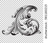 corner isolate vintage baroque...   Shutterstock .eps vector #581183215