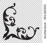 corner isolate vintage baroque... | Shutterstock .eps vector #581183302