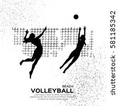 beach volleyball is popular... | Shutterstock .eps vector #581185342