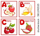 an alphabet with cute fruits ... | Shutterstock .eps vector #581190535