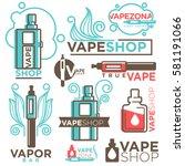 vape shop logos templates set....   Shutterstock .eps vector #581191066