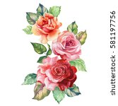 watercolor bouquet of roses | Shutterstock . vector #581197756