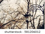 Street Lantern With Tree And...