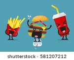 funny laughing french fries and ... | Shutterstock .eps vector #581207212