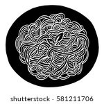 hand drawn doodle spaghetti at... | Shutterstock .eps vector #581211706