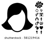 lady face template pictograph... | Shutterstock .eps vector #581219416
