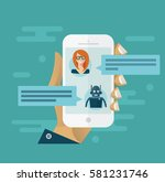 chatbot concept. man chatting... | Shutterstock .eps vector #581231746