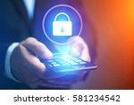 view of a businessman hand...   Shutterstock . vector #581234542