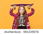 6 year old girl wearing hipster ... | Shutterstock . vector #581235076