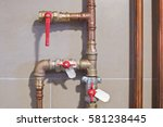 copper pipes engineering in a... | Shutterstock . vector #581238445