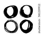 set of black paint  ink  grunge ... | Shutterstock .eps vector #581239912