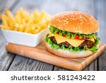 tasty and appetizing hamburger...   Shutterstock . vector #581243422