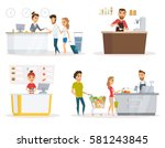 staff set. cashier  checkout... | Shutterstock .eps vector #581243845