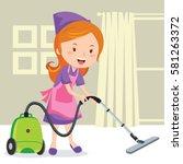 young girl vacuuming floor | Shutterstock .eps vector #581263372
