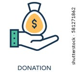 donation vector icon  | Shutterstock .eps vector #581271862