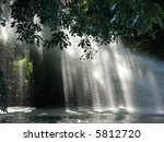 Sun Shines Through The Waterfall