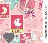 seamless pattern with baby girl ... | Shutterstock .eps vector #58127347