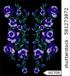 embroidery ethnic flowers neck... | Shutterstock .eps vector #581273872