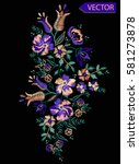 embroidery ethnic flowers neck... | Shutterstock .eps vector #581273878
