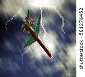passenger airplane falling from ... | Shutterstock . vector #581276452