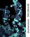 skateboarder man silhouettes... | Shutterstock .eps vector #581286148