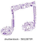 musical note made of doodles | Shutterstock .eps vector #58128739