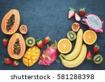 fresh fruits.exotic fruits on a ... | Shutterstock . vector #581288398