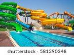 aquapark sliders with pool  | Shutterstock . vector #581290348