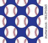 seamless baseball pattern | Shutterstock .eps vector #581291065