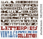 vector letterpress vintage... | Shutterstock .eps vector #581292232