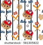 seamless pattern  cute tiger... | Shutterstock .eps vector #581305822