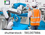 maintenance engineer control... | Shutterstock . vector #581307886