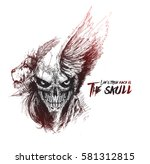 scratch devil skull with lion... | Shutterstock .eps vector #581312815