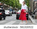 paris july 8  2015. top model... | Shutterstock . vector #581320522