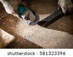 worker used electric wheel...   Shutterstock . vector #581323396